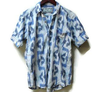 Blue and White Tribal print top button down S M